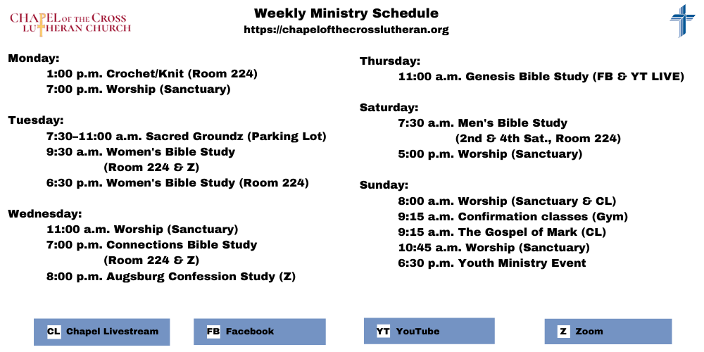 Weekly Ministry Schedule